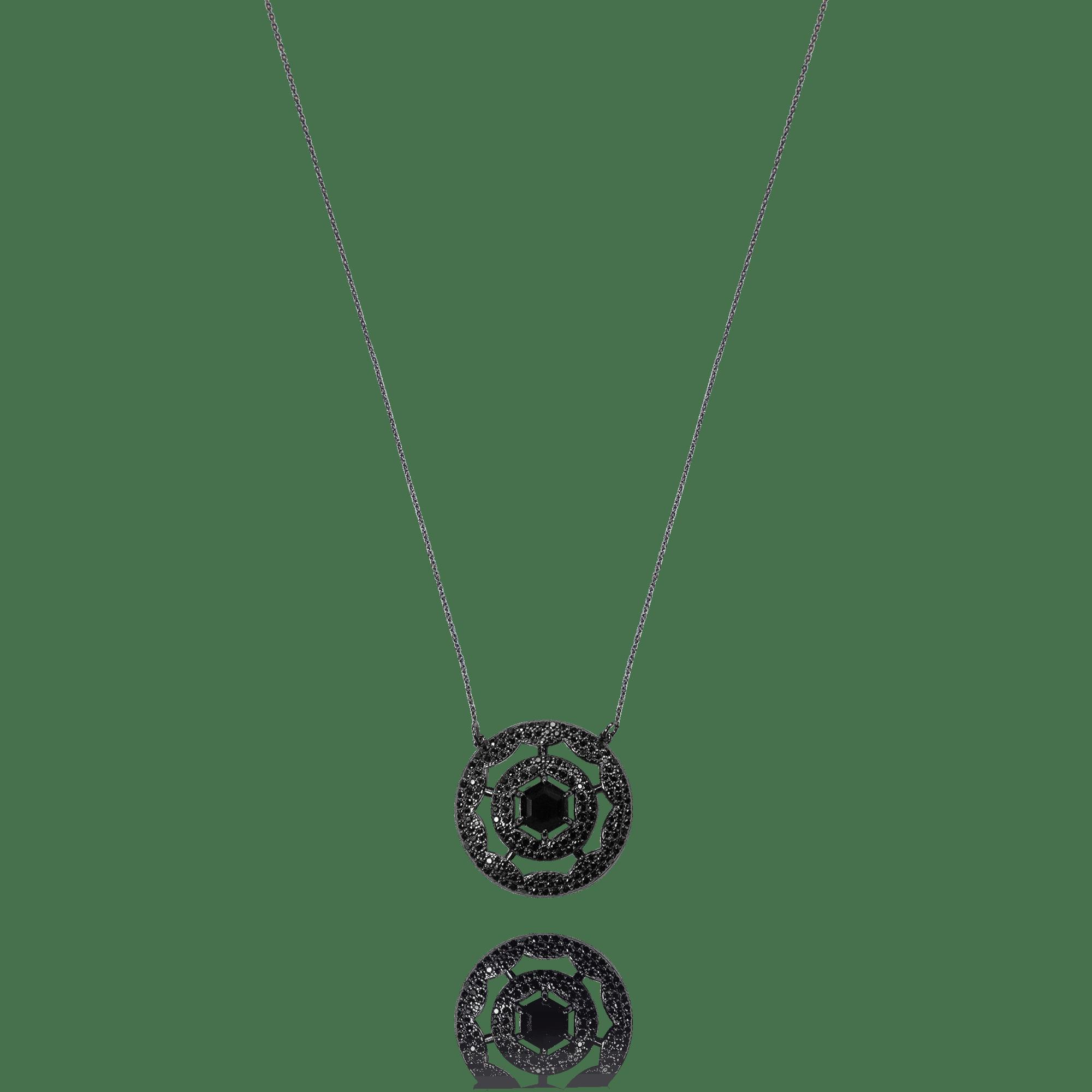 Colar Mandala Vazado Cristal Negro e Zircônias