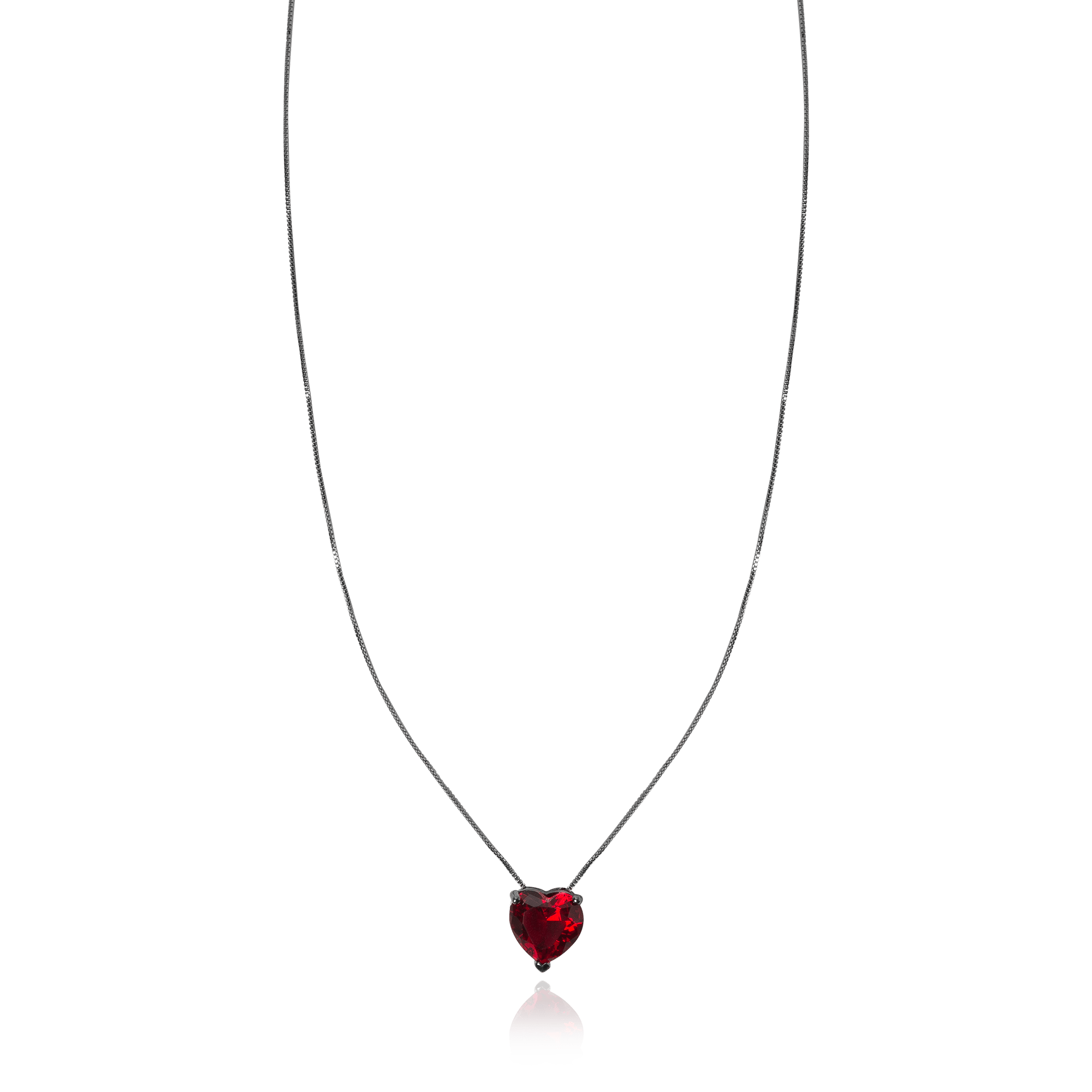 Colar Pingente Coração Cristal Turmalina Vermelho