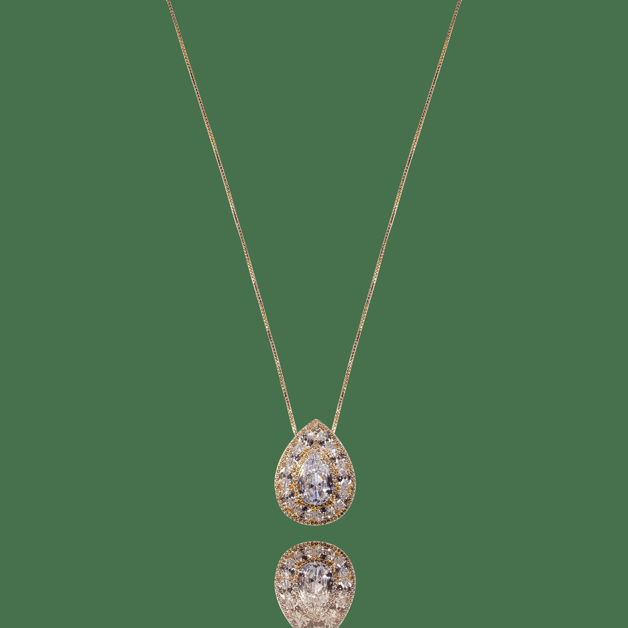 Colar Pingente Dourado Gota Cristal com Zircônias