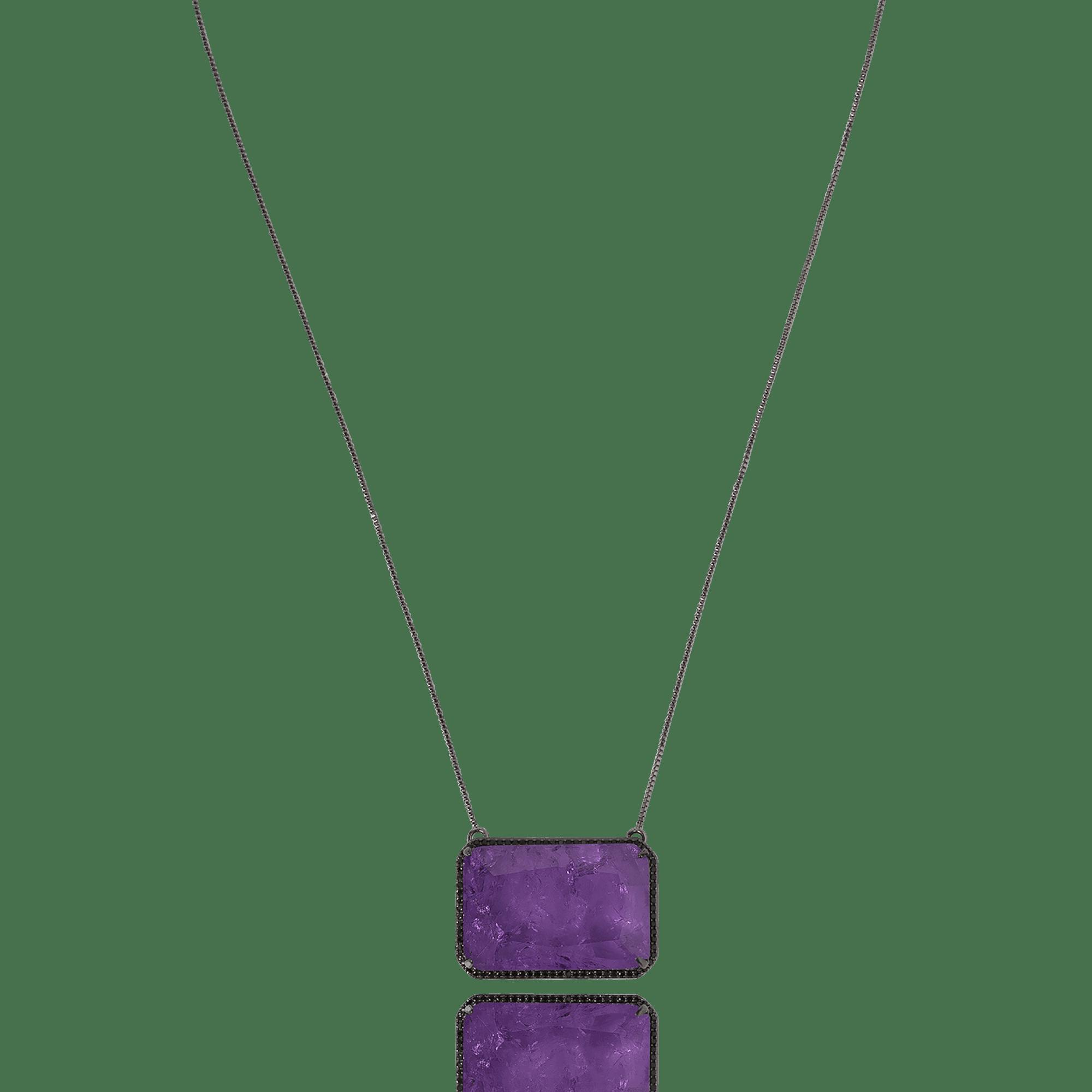 Colar Retangular com Cristal Fusion