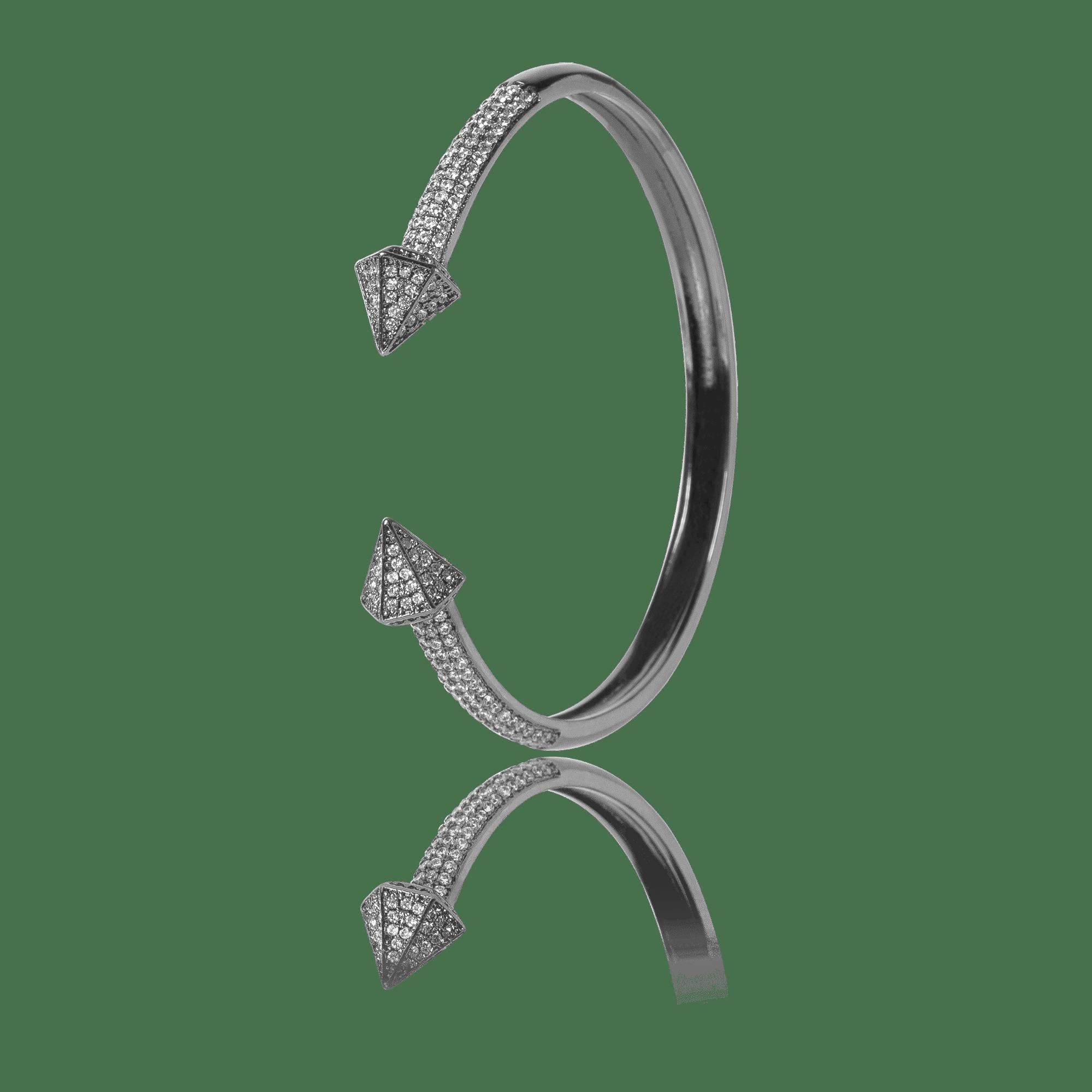 Pulseira Bracelete Aro Aberto Ródio Negro