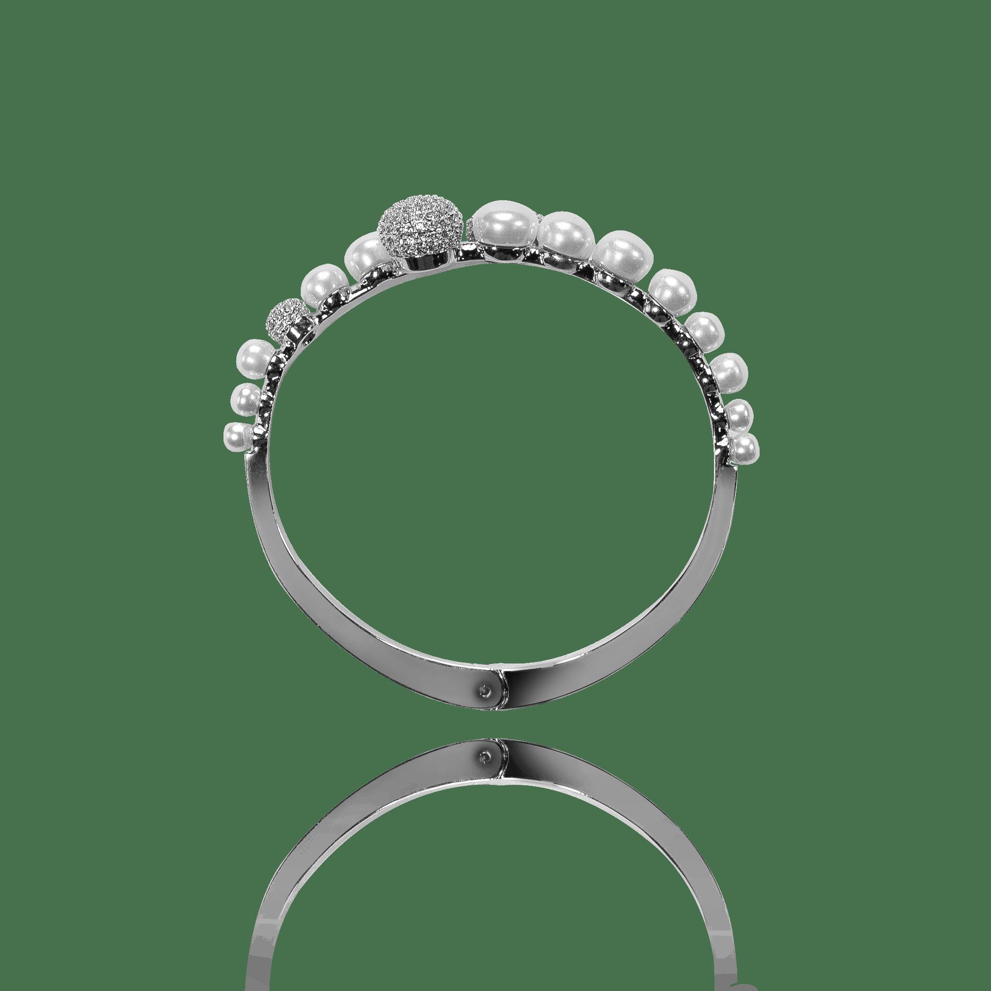 Pulseira Bracelete Prateada Pérolas e Zircônias