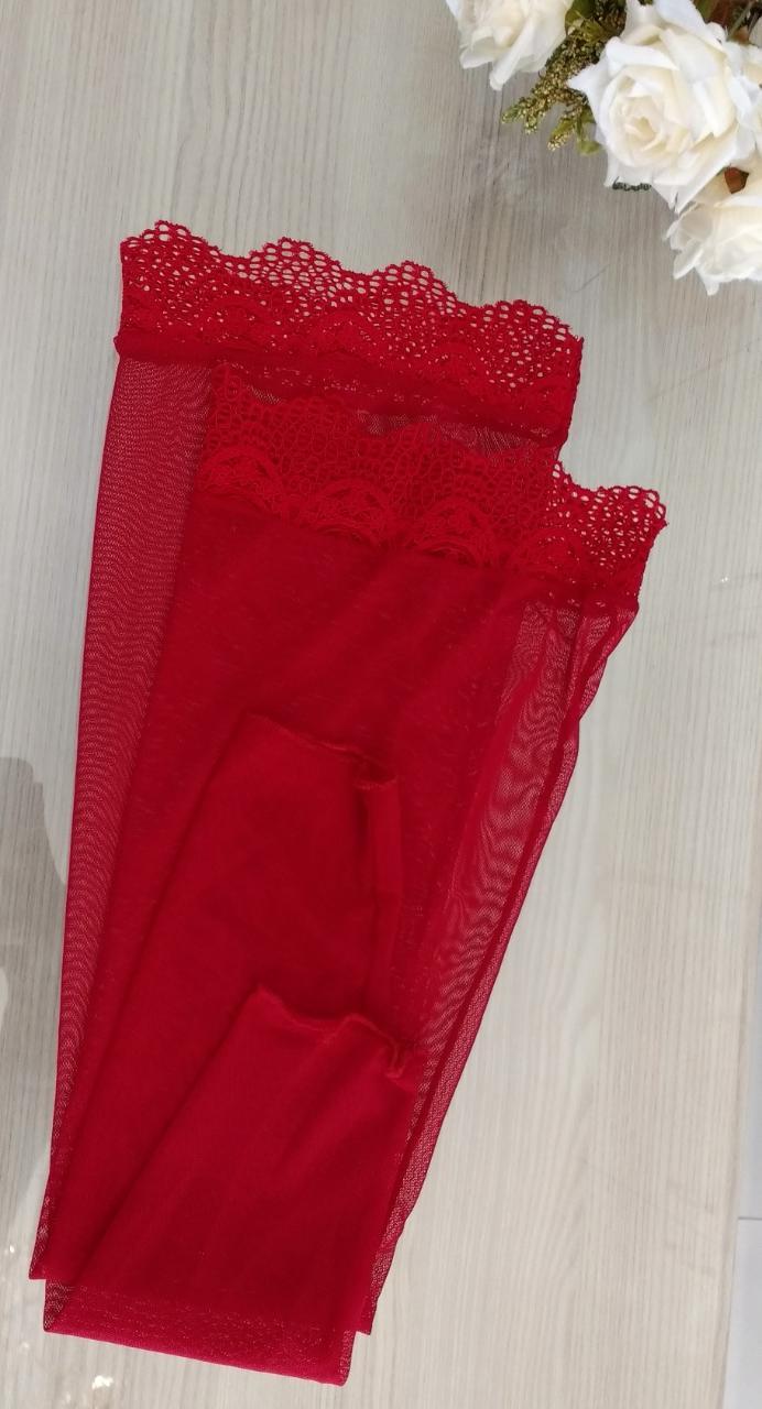 Kit - Conjunto Cirrê Vermelho com cinta liga + meia