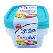 Conjunto 3 Potes Quadrado 600Ml 3106