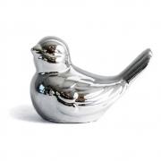Enfeite Pássaro de porcelana Prata