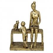 Estatueta decorativa resina mãe filho e cachorro 257-127 Mabruk