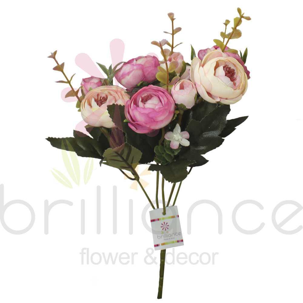Buque Artificial de Camélias Envelhecidas com 10 flores - Brilliance