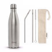 Garrafa Térmica B'kind All Silver + Kit Eco Canudos e Escova
