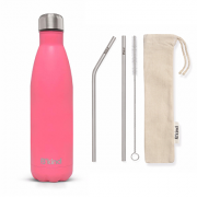 Garrafa Térmica B'Kind Pink Tropez + Kit Eco Canudos e Escova
