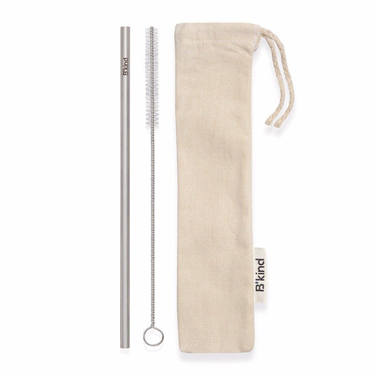 1 Eco Canudo Reto 6mm Bkind Aço Inox 304 Puro + Escova Easy Clean + Eco Bag