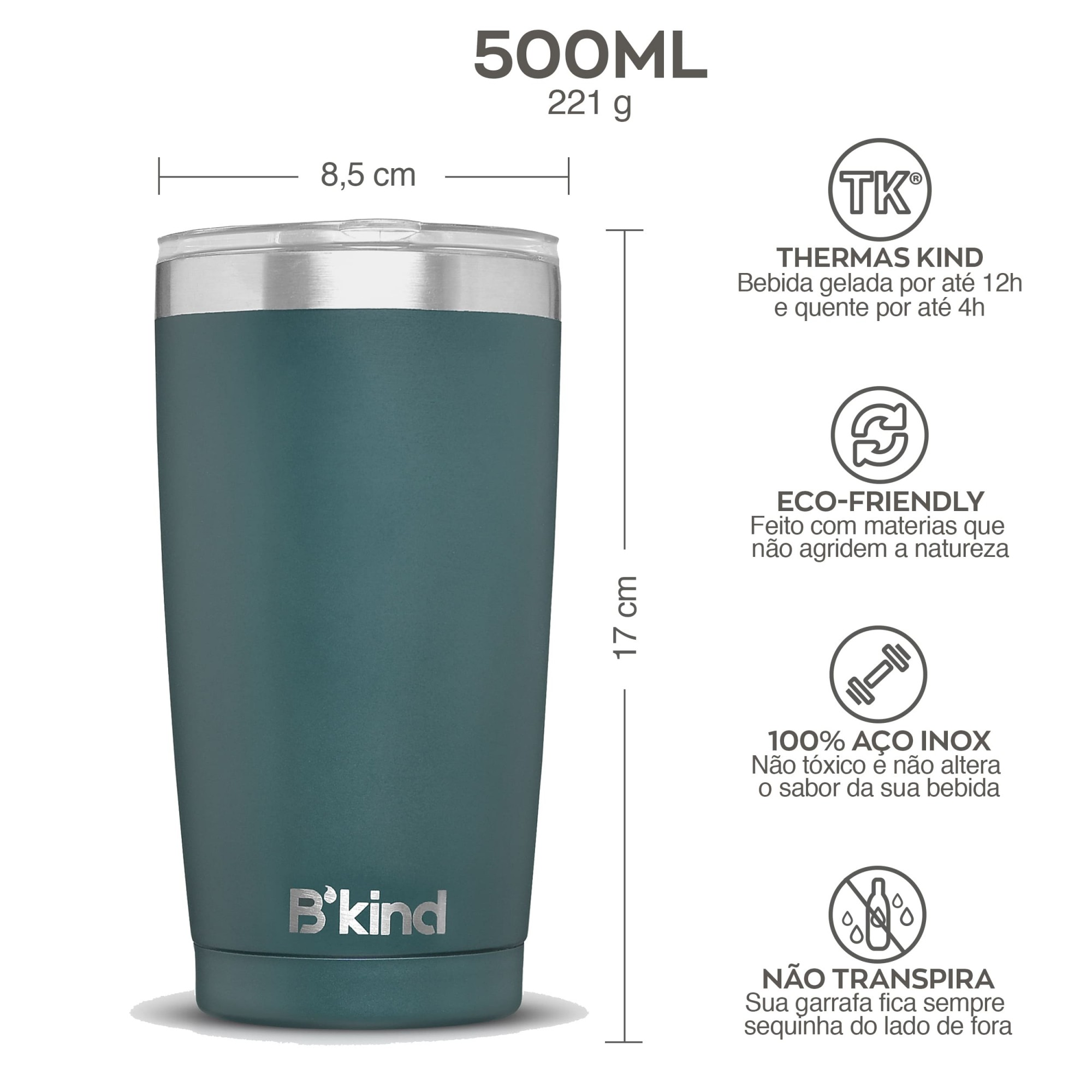Copo Térmico B'kind Verde Amazon Personalizado