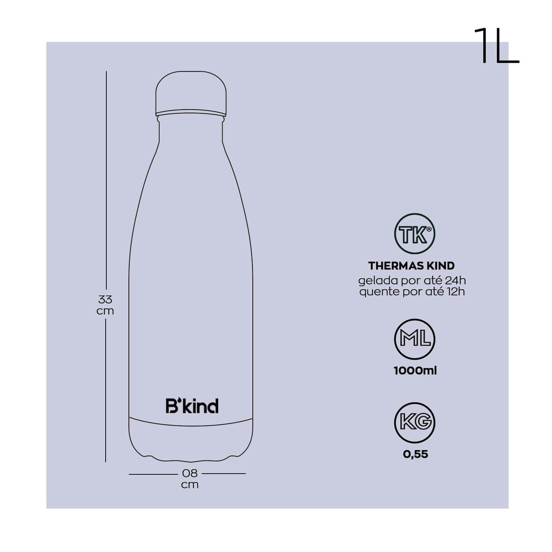 Garrafa Térmica B'kind Cinza Caviar 500ml + 1L