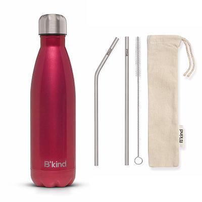Garrafa Térmica B'Kind Red Rubi + Kit Eco Canudos e Escova
