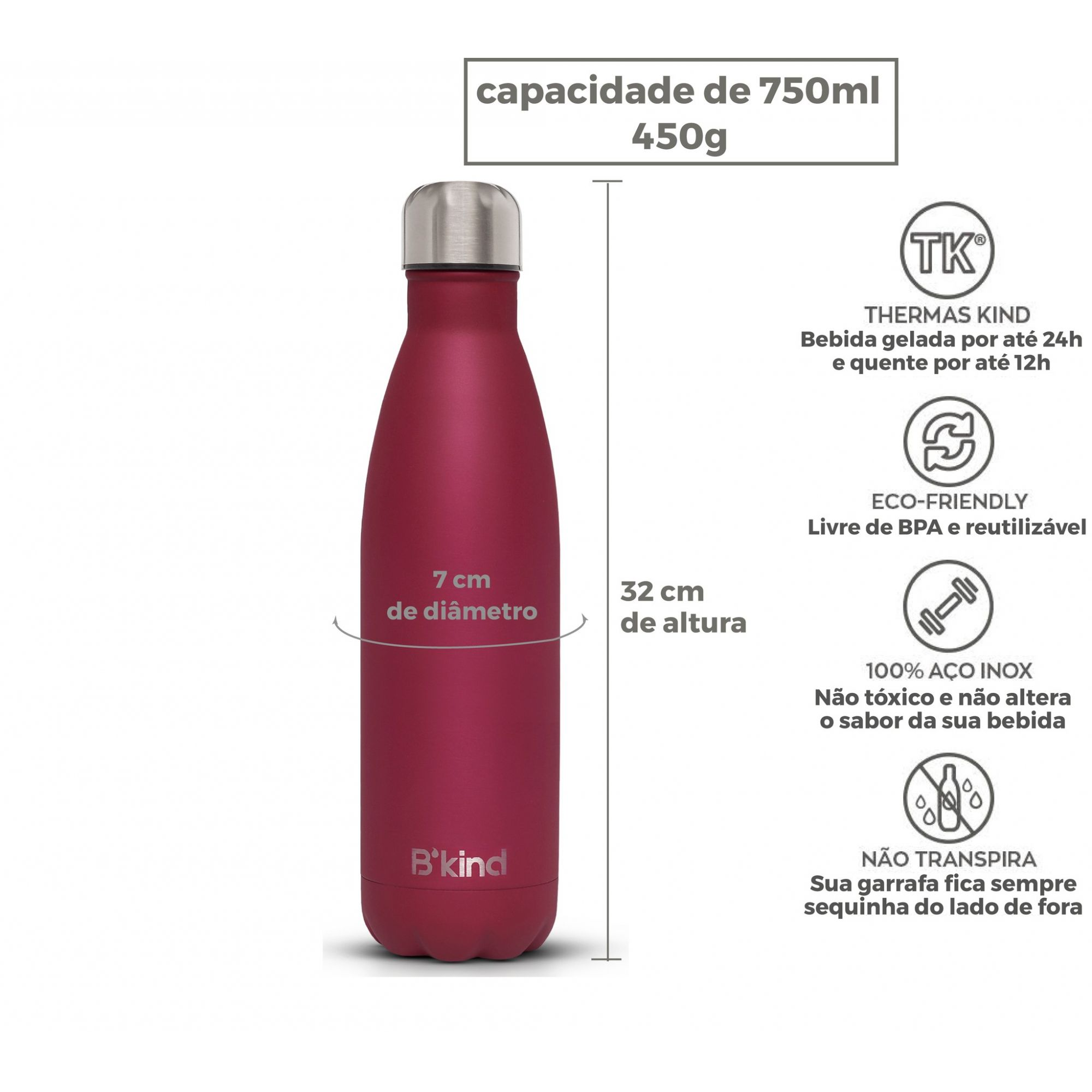 Garrafa Térmica B'kind Rouge Passion Personalizada