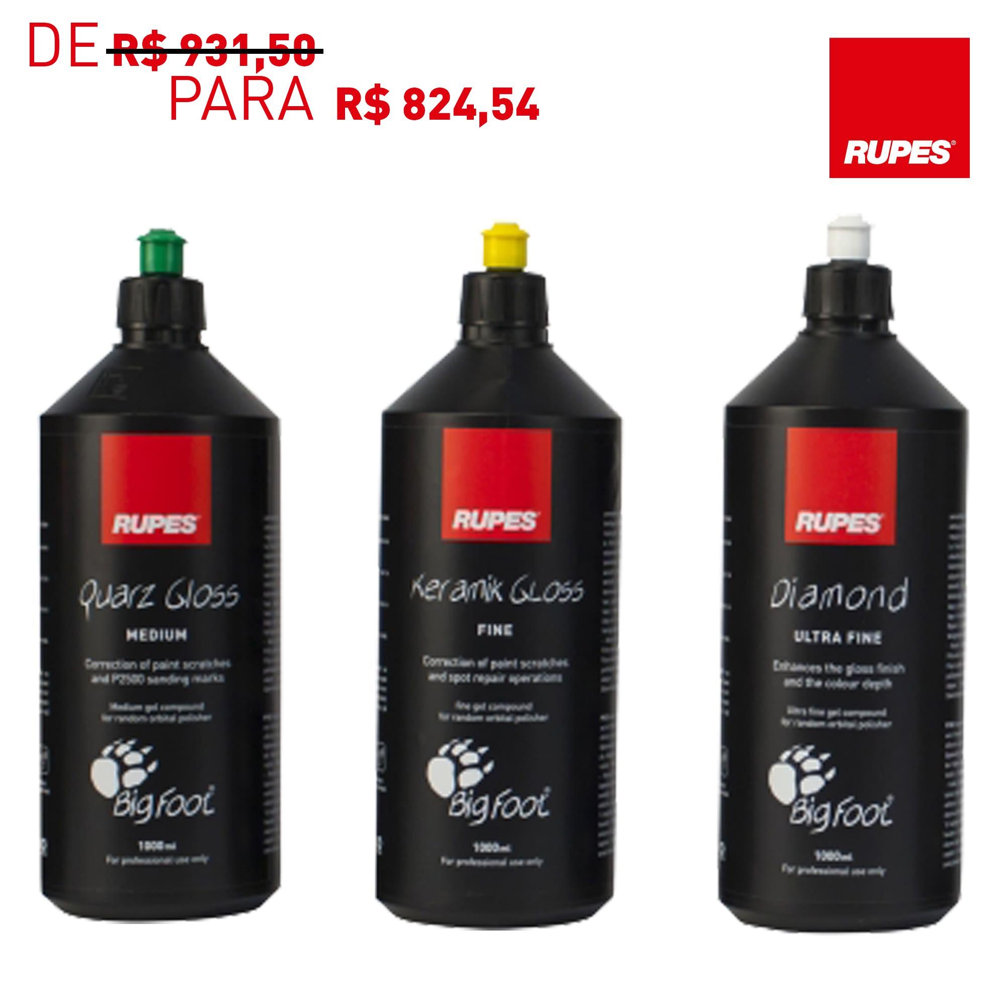 KIT com 3 Compostos Rupes - Refino, Lustro e Super Lustro - Promoção Semana do Composto  - Rupes Brasil