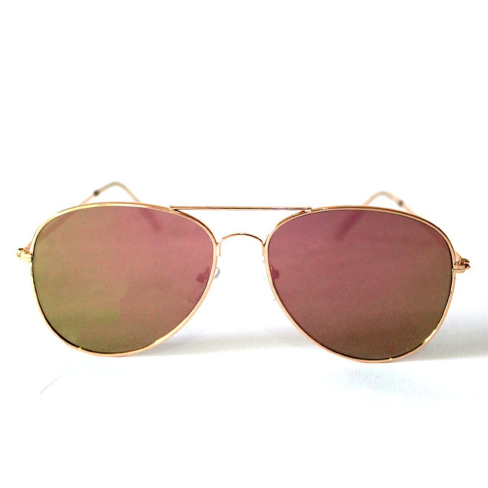 Óculos de Sol Aviador Cayo Blanco Dourado com Lente Espelhada Rosa