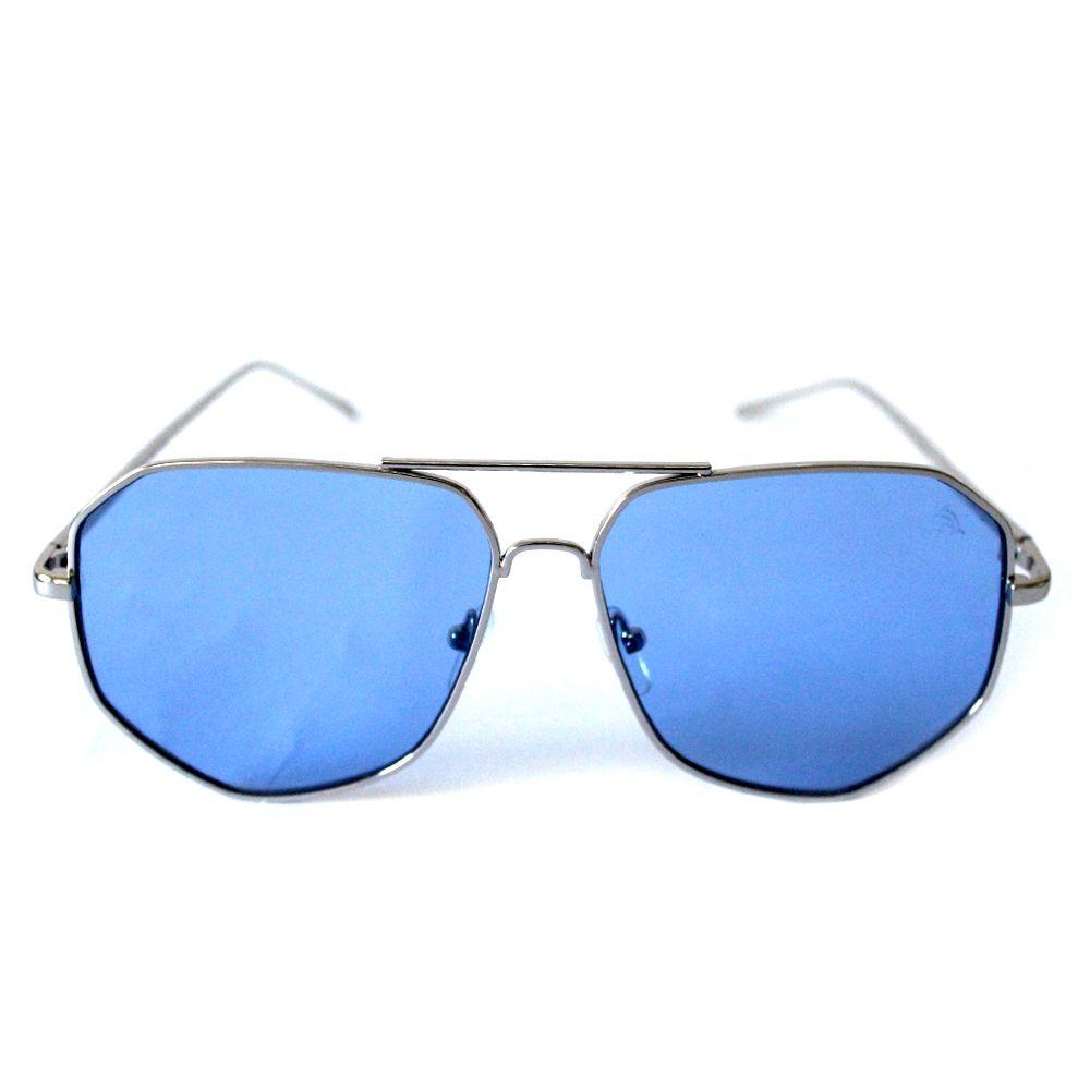 Óculos de Sol Aviador Cayo Blanco Prata com Lente Azul