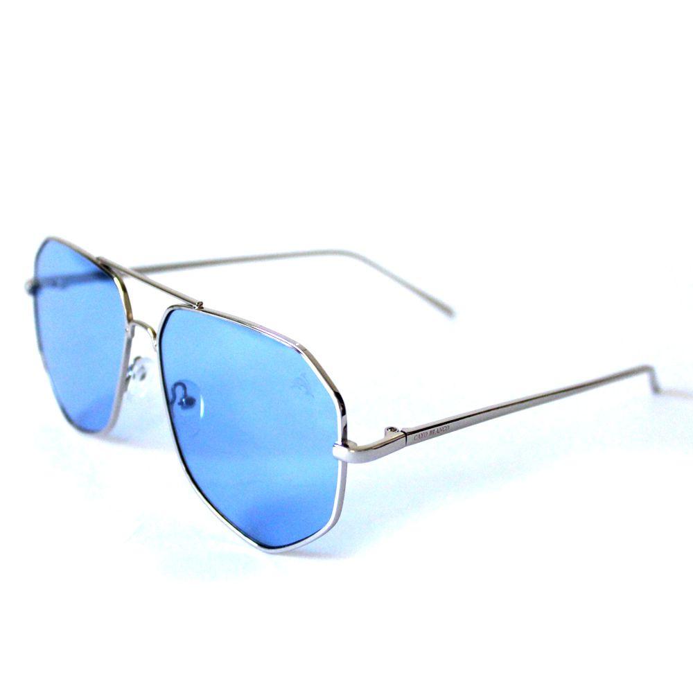 Óculos de Sol Aviador Cayo Blanco Prata com Lente Azul  - Cayo Blanco
