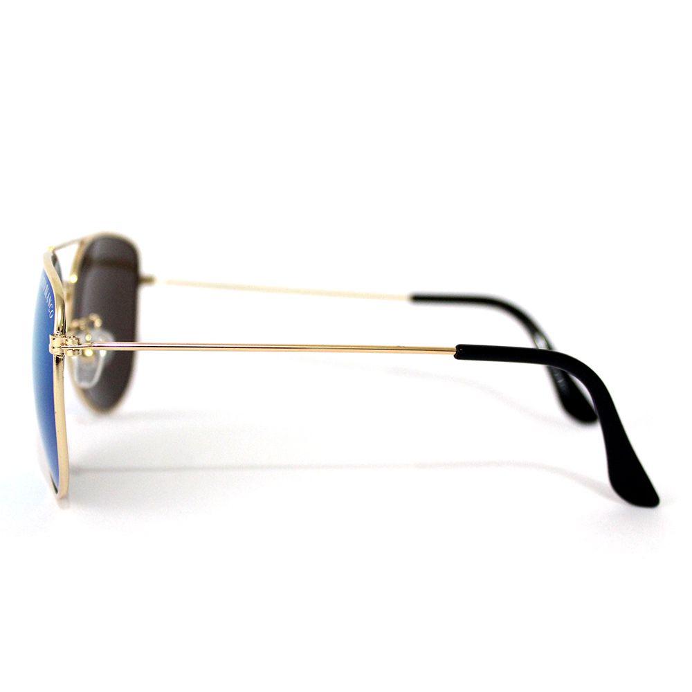Óculos de Sol  Aviador Cayo Blanco Dourado com Lente Azul