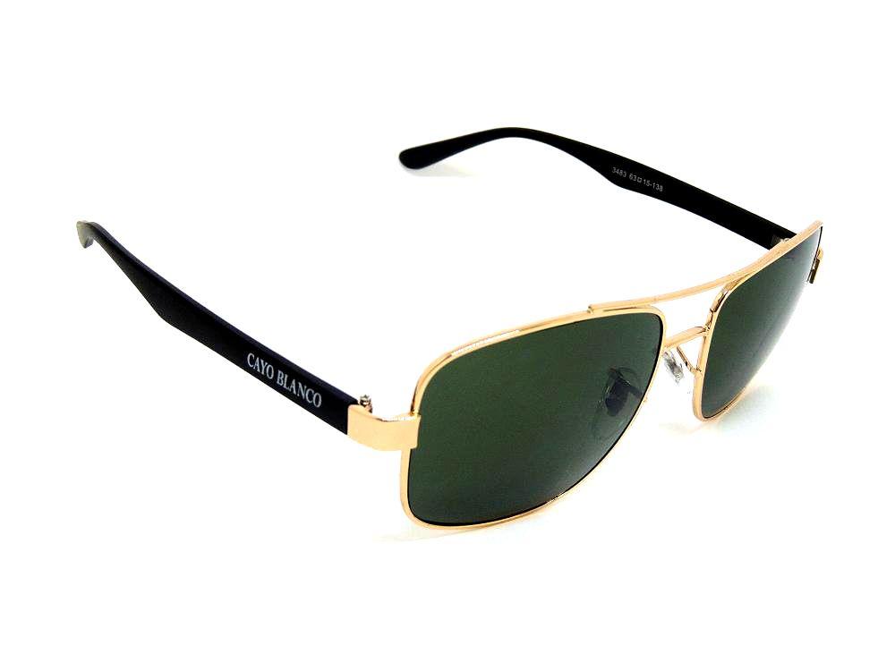 Óculos de Sol Cayo Blanco Dourado e Preto com Lente Verde  - Cayo Blanco