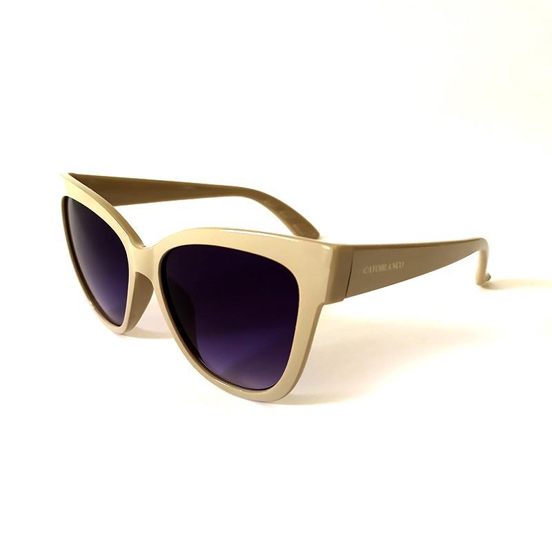 Óculos de Sol Cayo Blanco Feminino Bege Lente Azul  - Cayo Blanco