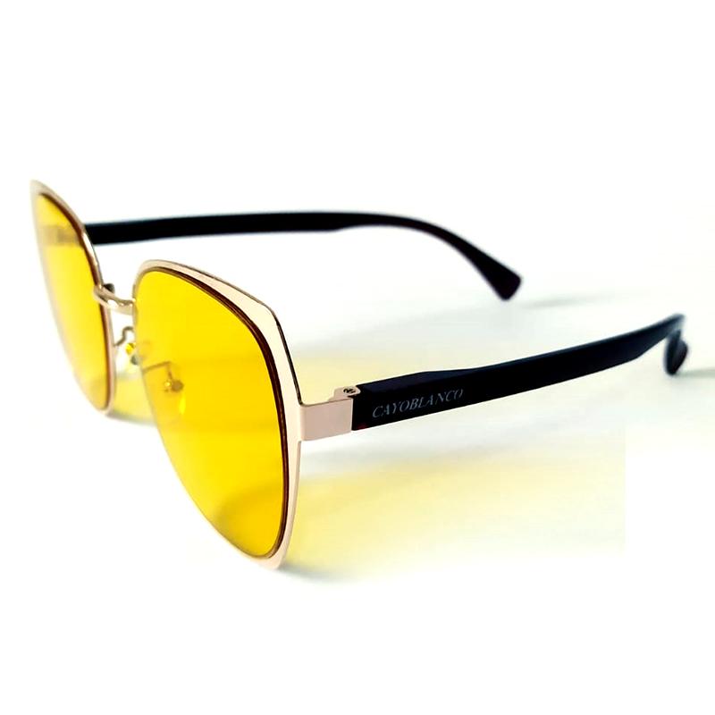 Óculos de Sol Cayo Blanco Feminino Dourado Lente Amarelo  - Cayo Blanco
