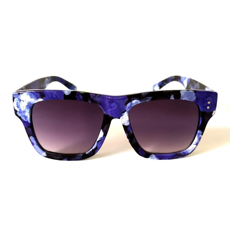 Óculos de Sol Cayo Blanco Feminino Floral Lilás e Azul  - Cayo Blanco