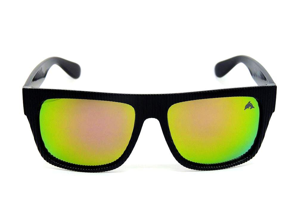 Óculos de Sol Cayo Blanco Preto Verniz com Lente Espelhada Rosa