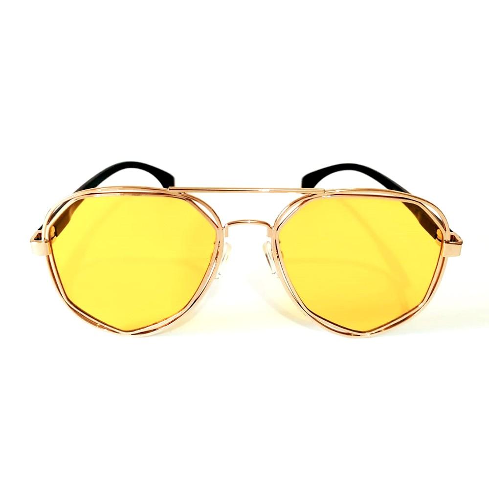 Óculos de Sol Feminino Redondo Cayo Blanco Lente Amarela  - Cayo Blanco
