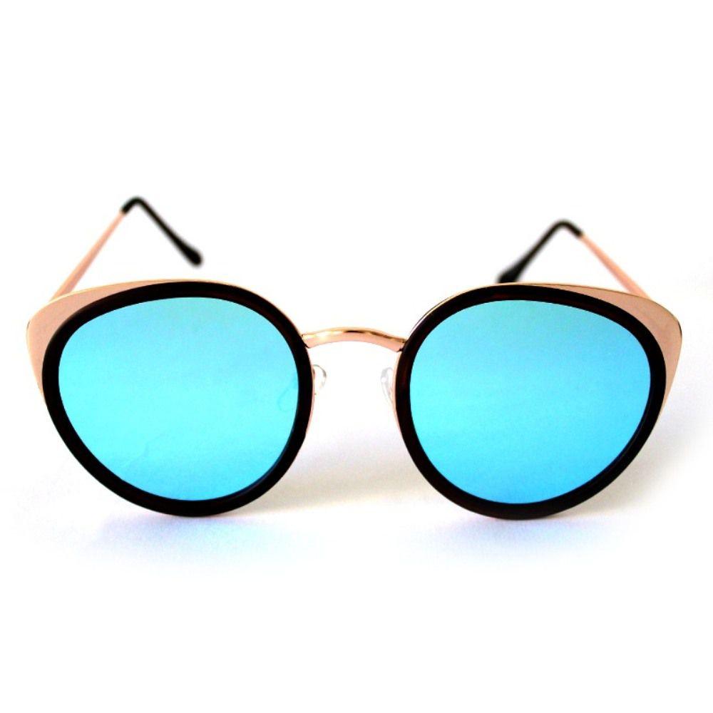 Óculos de Sol Redondo Dourado e Azul Cayo Blanco