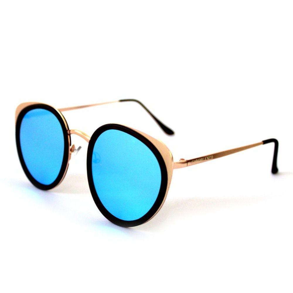 Óculos de Sol Redondo Dourado e Azul Cayo Blanco  - Cayo Blanco