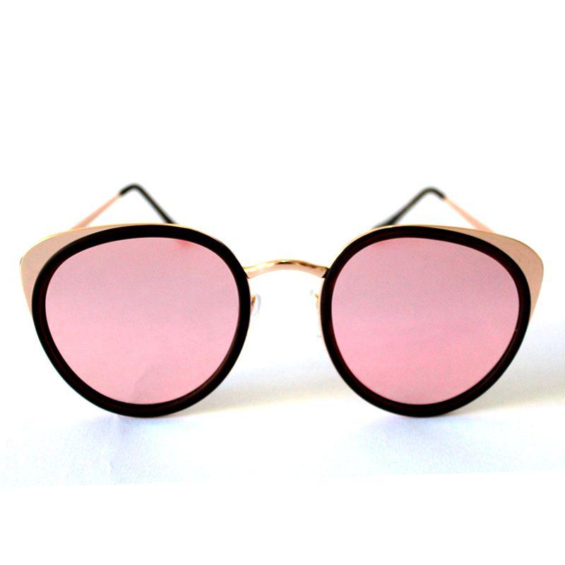 Óculos de Sol Redondo Dourado e Espelhado Rosa Cayo Blanco