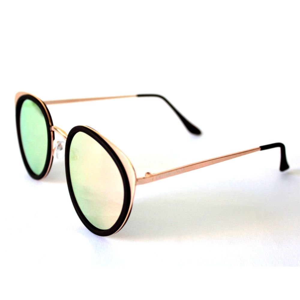 Óculos de Sol Redondo Dourado e Espelhado Rosa Cayo Blanco  - Cayo Blanco