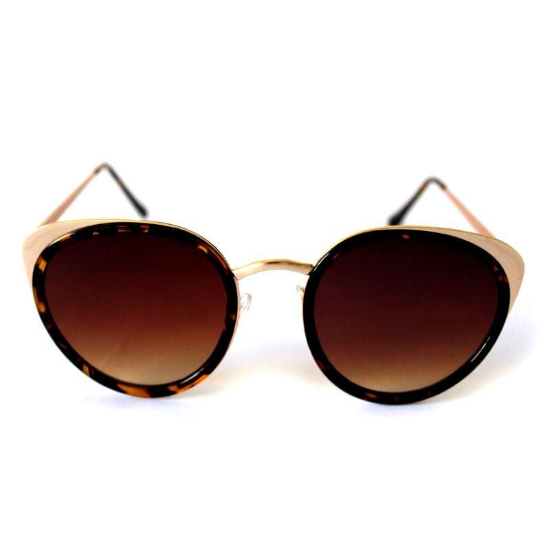 Óculos de Sol Redondo Dourado e Marrom Cayo Blanco
