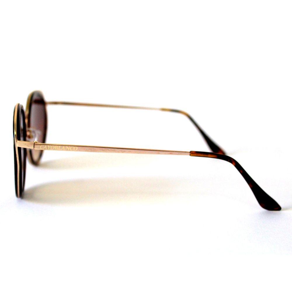 Óculos de Sol Redondo Dourado e Marrom Cayo Blanco  - Cayo Blanco