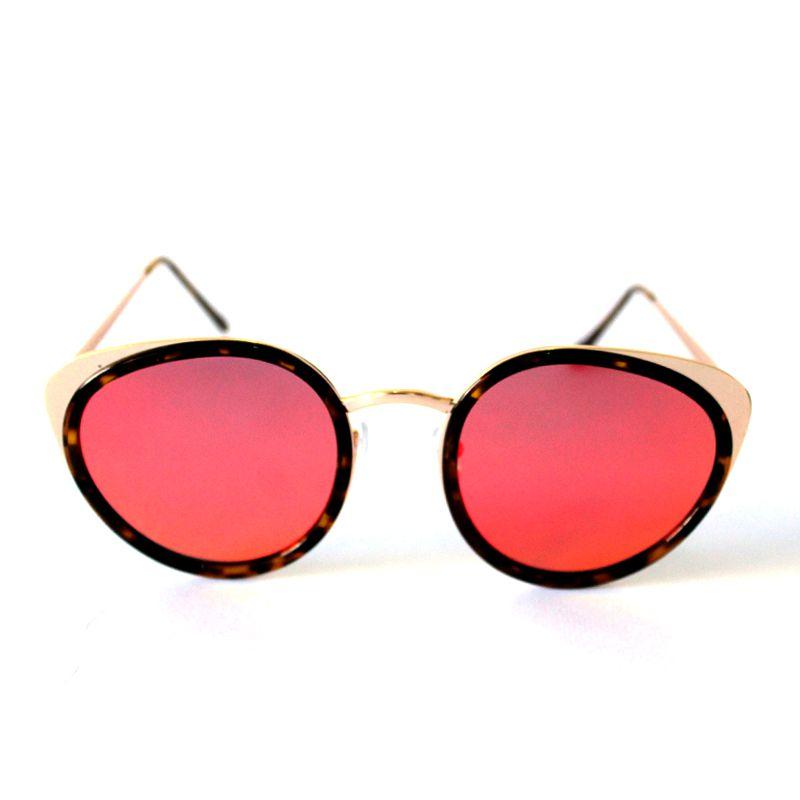 Óculos de Sol Redondo Dourado Espelhada Vermelha Cayo Blanco