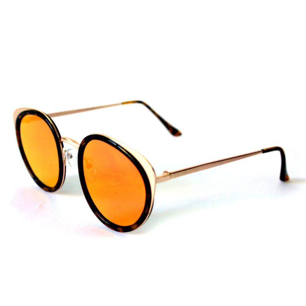 Óculos de Sol Redondo Dourado Espelhada Vermelha Cayo Blanco  - Cayo Blanco