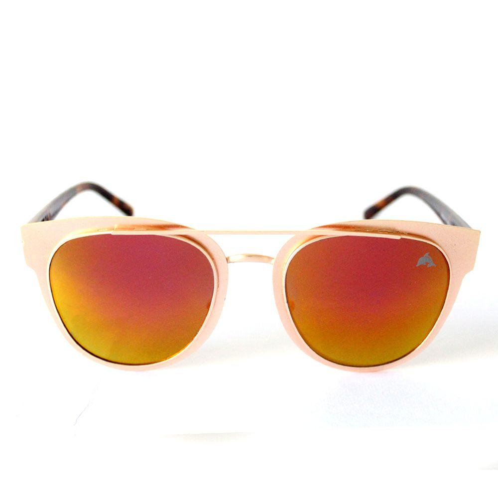 Óculos de Sol Redondo Dourado Espelhado Cayo Blanco