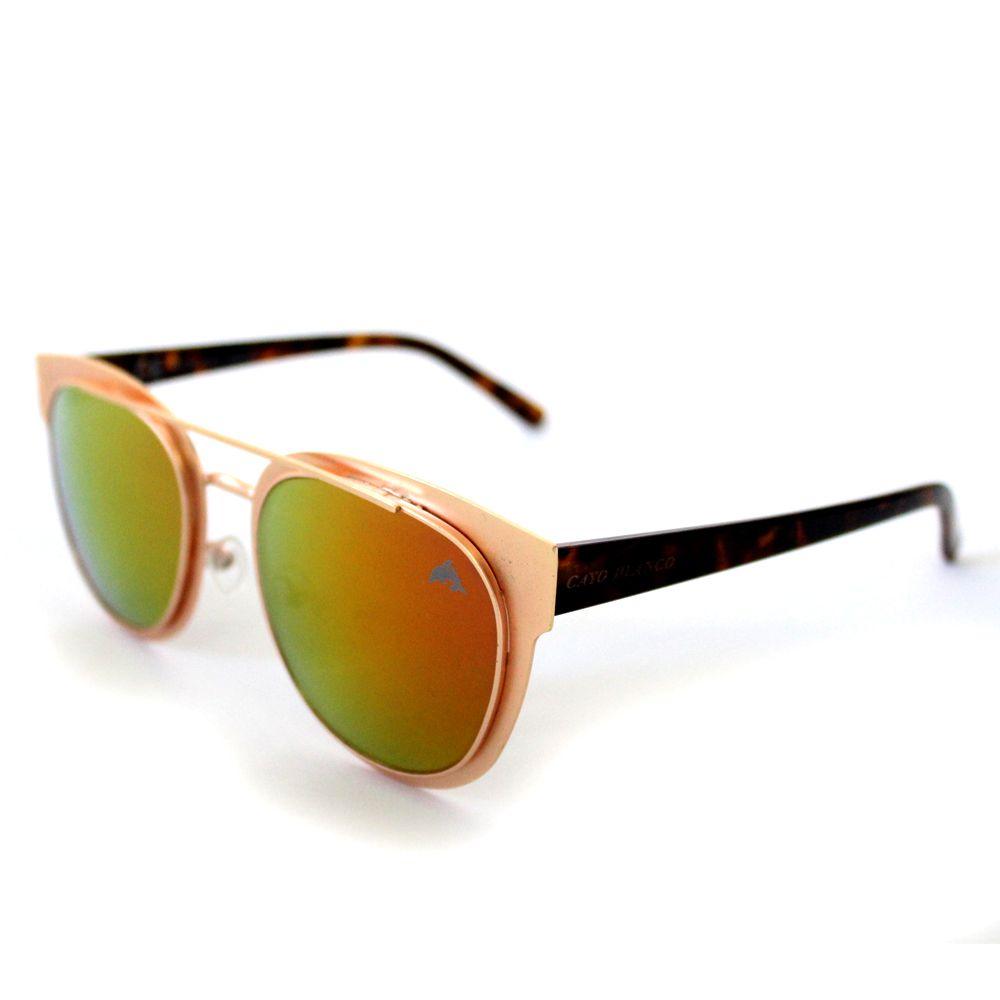 Óculos de Sol Redondo Dourado Espelhado Cayo Blanco  - Cayo Blanco