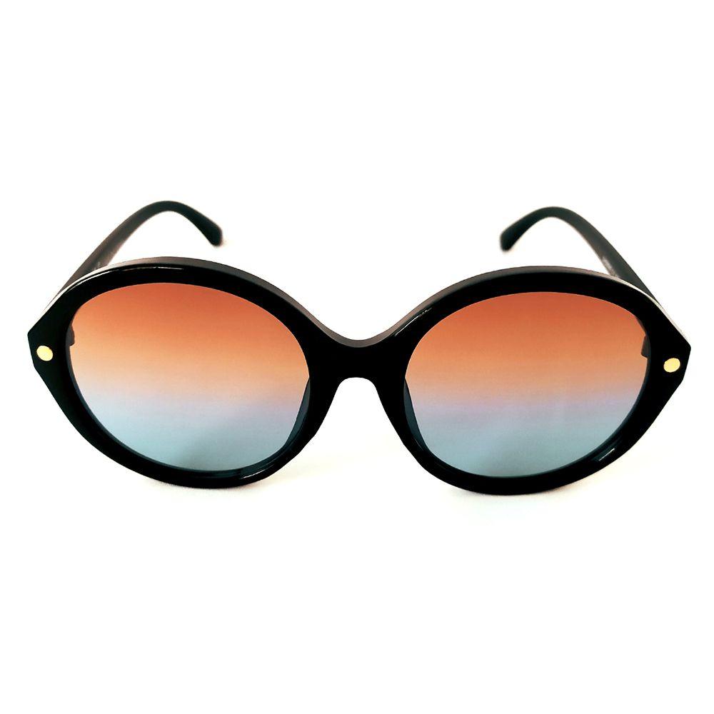 Óculos de Sol Redondo Preto Lente Laranja e Azul Cayo Blanco