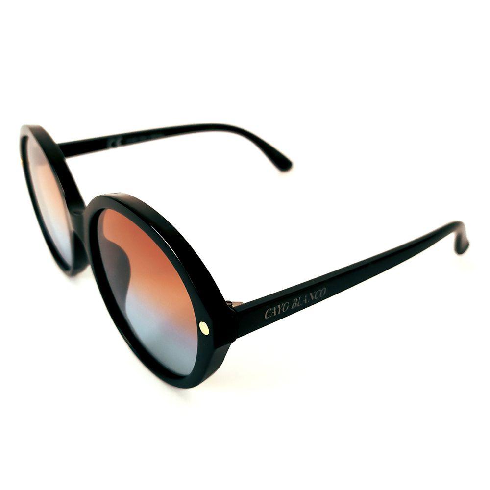 Óculos de Sol Redondo Preto Lente Laranja e Azul Cayo Blanco  - Cayo Blanco