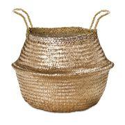 Cesto Dourado em Seagrass 35x40cm
