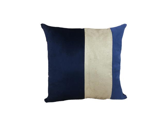 Almofada Veludo Azul/Bege 52x52