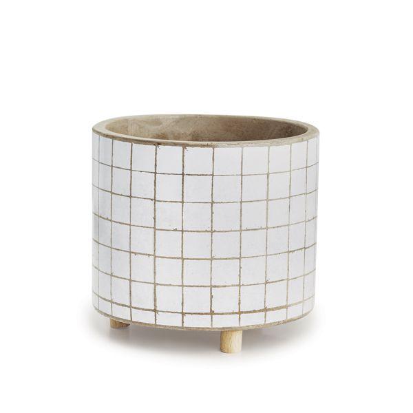 Cachepot Branco em Cimento e Madeira Quadrado 12cm