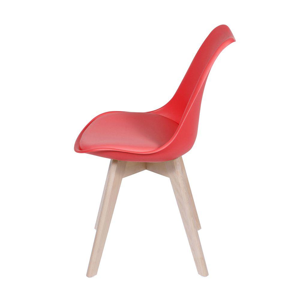 Cadeira Almofadada Eames com Base em Madeira