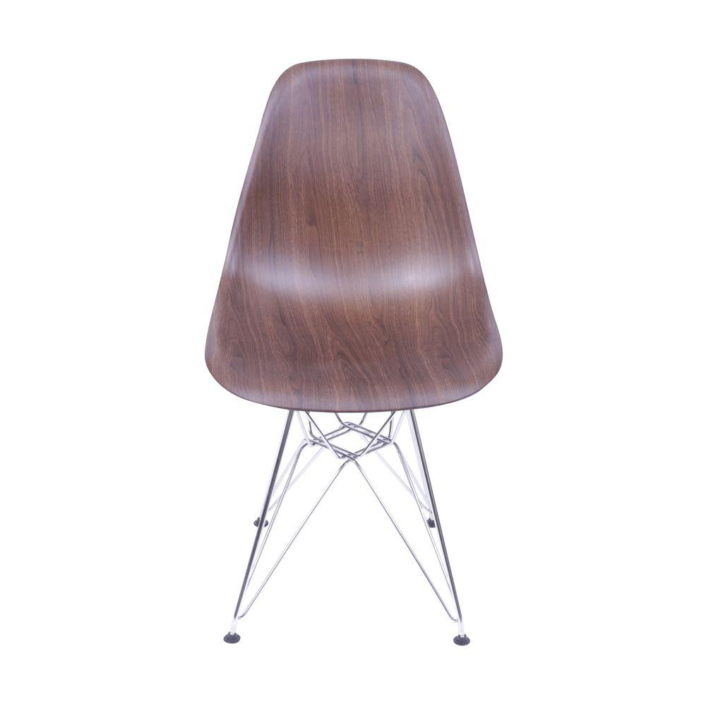 """Cadeira Eames Eiffel """"Madeira"""" com Base em Metal"""