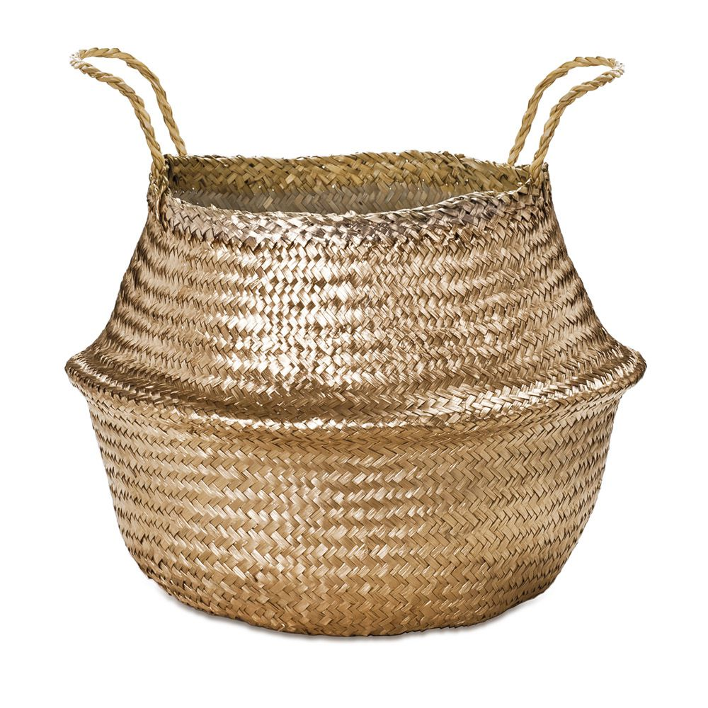 Cesto Dourado em Seagrass 30x35cm