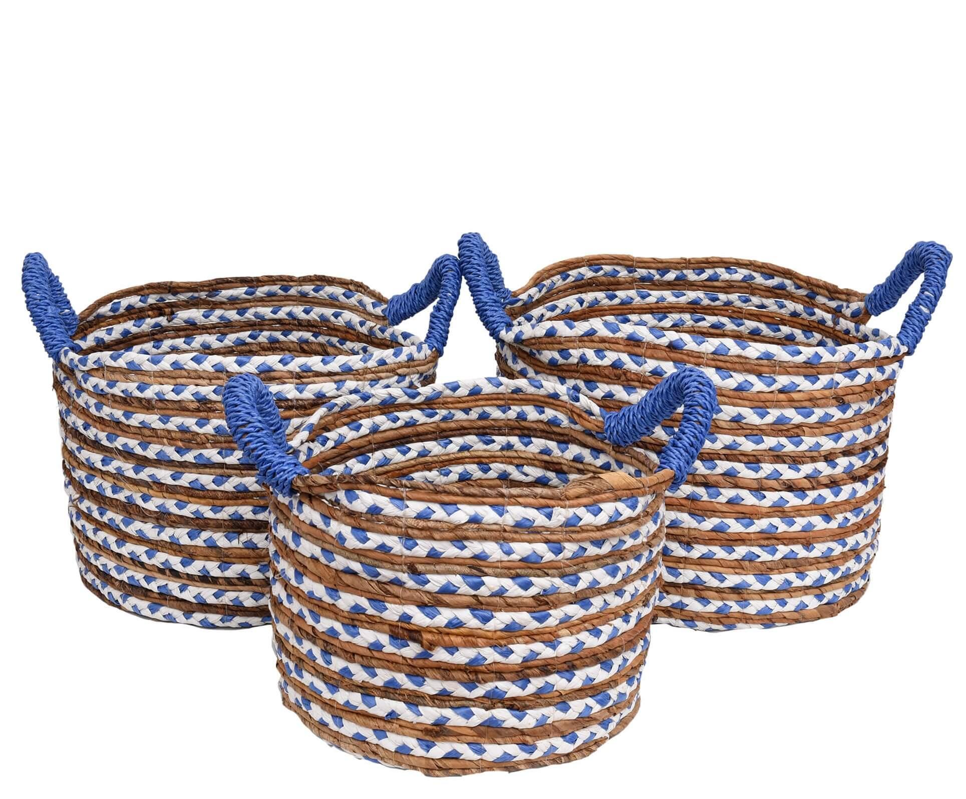 Cesto Fibra Natural Bicolor Azul Conj. 3 peças