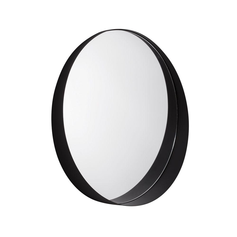Espelho Preto em Metal Redondo 50cm