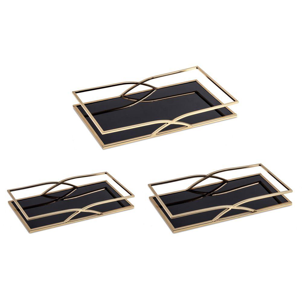 Kit Bandeja Dourada em Metal com Espelho Preto - 3 Pçs